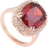 Acefeel 18k Gold Plated Prong Setting Oval Scarlet Cubic Zirconia Ruby Ring Mother's Day Gift R202 Size 7