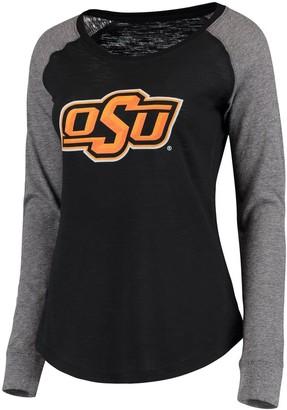 Unbranded Women's Black/Gray Oklahoma State Cowboys Preppy Elbow Patch Slub Long Sleeve T-Shirt