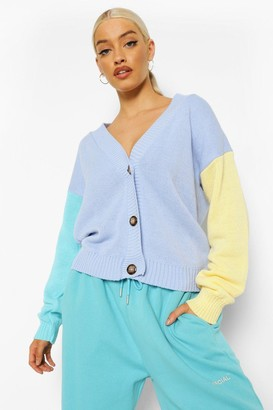 boohoo Pastel Colour Block Cardigan