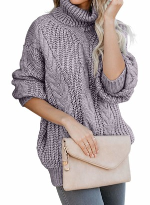 Arainlo Womens Casual Chunky Cable Knit Turtle Neck Long Sleeve Sweater Pullover Oversized Tops Grey Medium Size 10-12