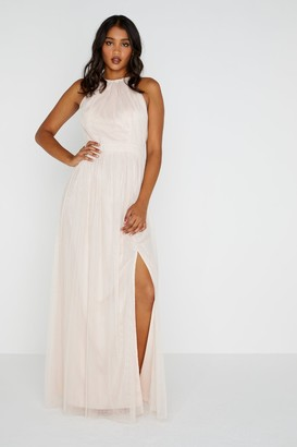 Little Mistress Heather Mesh Halter Maxi Dress