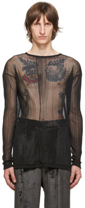 Sulvam Black Sheer Garment-Pleated T-Shirt