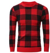 TUNEVUSE Men's Checkered Crewneck Sweaters Slim Casual Knitted Pullovers Asian X-Large Red 1