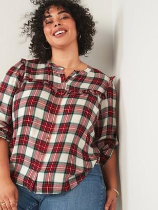 Old Navy Ruffle-Yoke No-Peek Plus-Size Shirt