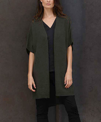 Colour Works by In Cashmere Women's Cardigans Pine - Pine Open Hi-Low Cashmere Cardigan - Women