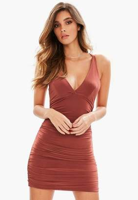 Missguided Brown Slinky Cross Back Ruched Side Bodycon Dress