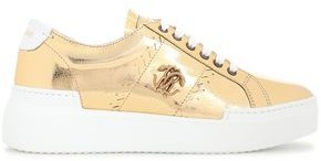 Roberto Cavalli Appliqued Metallic Cracked-leather Platform Sneakers