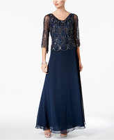 J Kara Sequined A-Line Gown