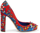 Dolce & Gabbana Embellished Printed Brocade Pumps - Crimson