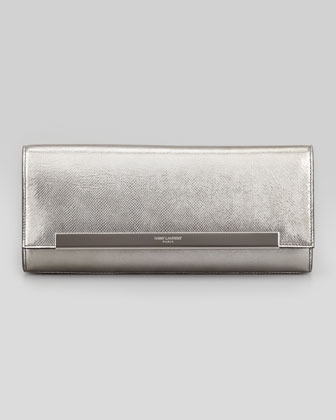 Saint Laurent Lutetia Flap Clutch Bag, Silver