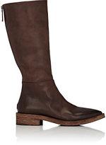 Marsèll Women's Back-Zip Leather Knee Boots-DARK BROWN