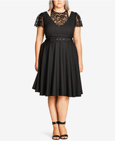 City Chic Plus Size Lace-Trim Belted Fit & Flare Dress