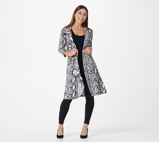 Women With Control Attitudes by Renee Petite Cascade Button Front Printed Duster