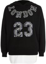 River Island Girls black 'London' embellished hoodie
