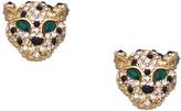 Blu Bijoux Emerald Crystal Tigerhead Stud Earrings
