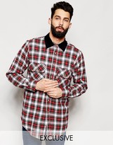 Reclaimed Vintage Oversized Check Shirt With Cord Collar