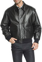 KNEX Landing Men's Air Force A-2 Flight Leather Bomber Jacket - Big and Tall