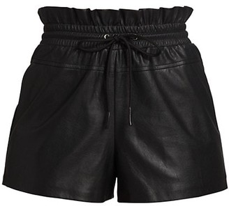 n:philanthropy Paperbag-Waist Faux-Leather Shorts
