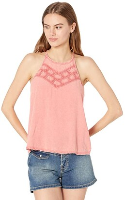 Rock and Roll Cowgirl High Neck Mineral Wash Tank Blouse B5-9908