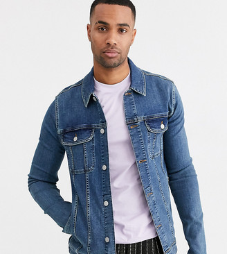 Asos Design DESIGN Tall skinny western denim jacket in mid wash-Blue