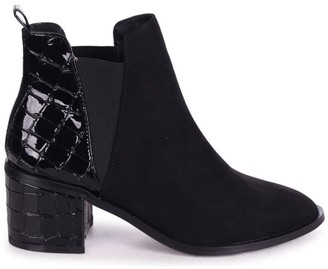 Linzi DONNA - Black Suede & Patent Croc Pull On Block Heeled Ankle Boot