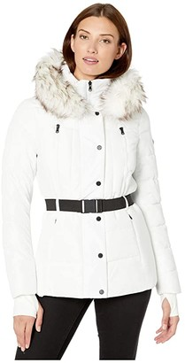 MICHAEL Michael Kors Active Jacket with Logo Belt and Hood A420380TZ (White) Women's Coat