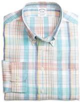 Brooks Brothers Slim Fit Aqua with Pink Plaid Linen Sport Shirt