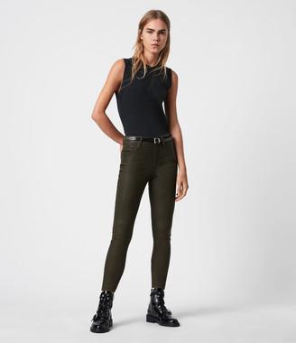 AllSaints Miller Mid-Rise Coated Skinny Jeans, Khaki Green