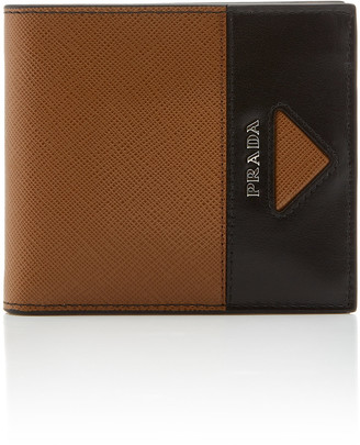 Prada Textured-Leather Two-Tone Wallet
