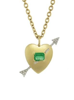 Irene Neuwirth Emerald Heart and Diamond Arrow Yellow and White Gold Necklace
