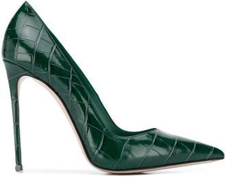 Le Silla Eva crocodile-effect leather pumps