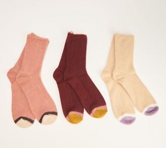Muk Luks Ribbed Sparkle Crew Socks Set of 3