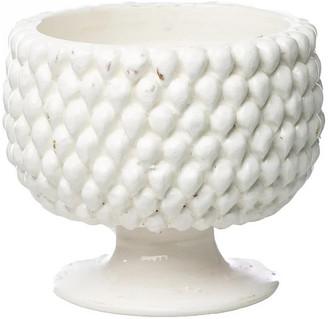 Abigails Vinci Pine-Cone Ceramic Planter, White, Small
