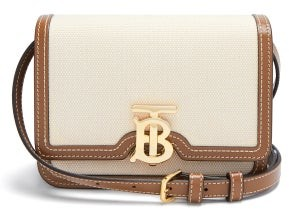 Burberry Tb Mini Canvas And Leather Cross-body Bag - Tan