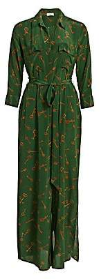 L'Agence Women's Cameron Key-Print Silk Shirtdress