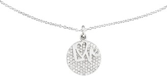 """Sterling Love & Crystal Circle Pendant w/ 18"""" Chain"""