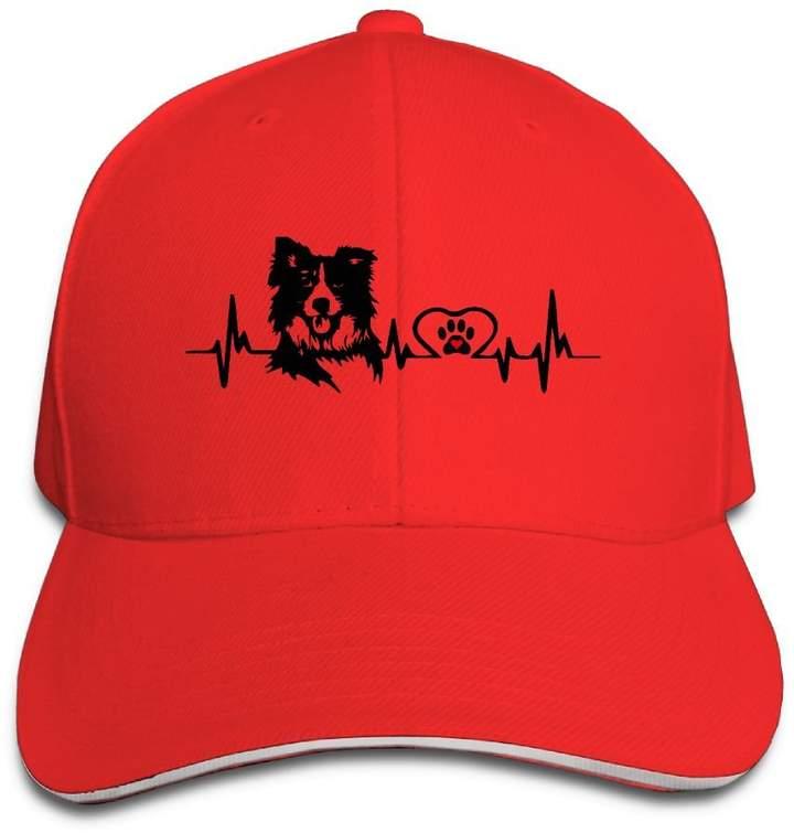 d1abaf9b PLWYZAJYb Unisex Casual Border Collie Heartbeat Snapback Sandwich Cap  Peaked Trucker Cap