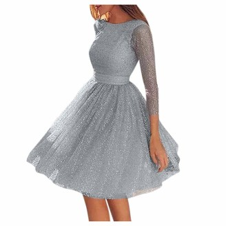 TOPEREUR Women Stunning Sequins Long Sleeves Backless Patchwork Evening Party Dress A-line O-Neck Hollow Lace Cocktail Dress S-5XL (M