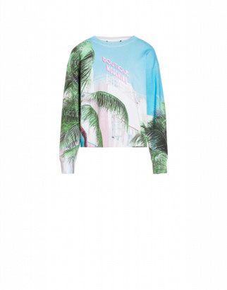 Boutique Moschino Beach Palms Stretch Cotton Pullover Woman Blue Size 36 It - (2 Us)