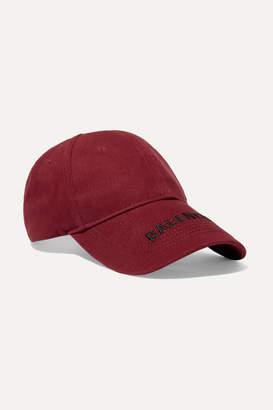 Balenciaga Embroidered Cotton-twill Baseball Cap - Burgundy