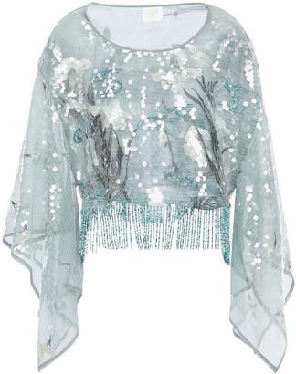 Anna Sui Fringed Embellished Tulle Blouse