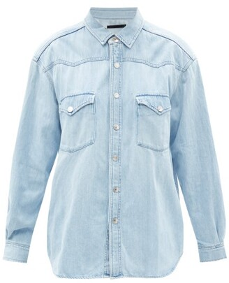 Made In Tomboy - Shoulder-pad Acid-wash Chambray-denim Shirt - Light Denim