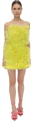 ATTICO The Strapless Feather Embellished Mini Dress