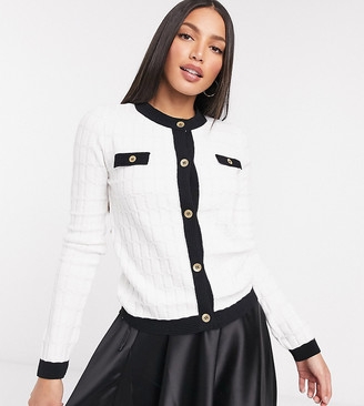 Asos Tall ASOS DESIGN Tall boxy cardigan with gold buttons in cream
