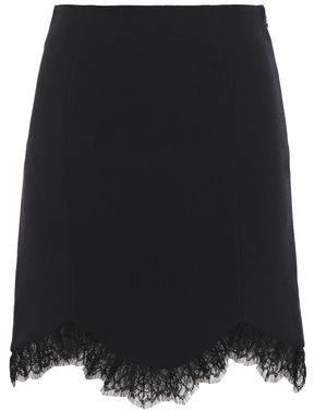 Just Cavalli Chantilly Lace-trimmed Crepe Mini Skirt