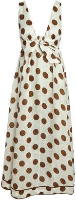 Zimmermann Empire Polka Dot Tie-Front Dress