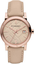 Burberry Ladies Rose Gold Watch with Tan Leather Strap