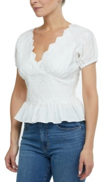Laundry by Shelli Segal Laundry by Shelli Cotton Segal Eyelet-Embroidered Peplum-Hem Top