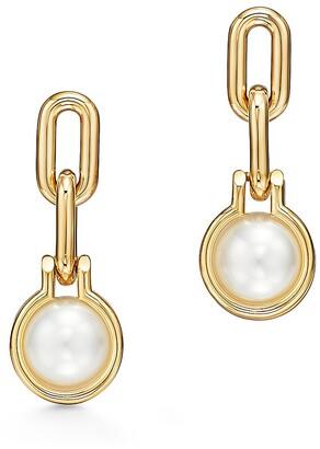 Tiffany & Co. City HardWear South Sea pearl link earrings in 18k gold