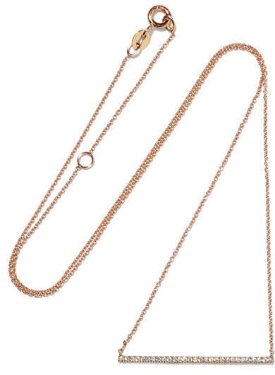 Diane Kordas Bar 18-karat Rose Gold Diamond Necklace